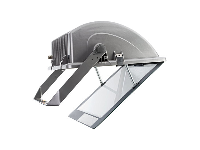 Opening suspended front cover provides access to lamp