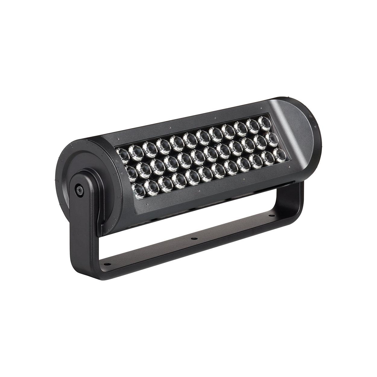 Superieure schijnwerper LED-armatuur voor buiten met een ver straalbereik en RGBA- of RGBW-licht.