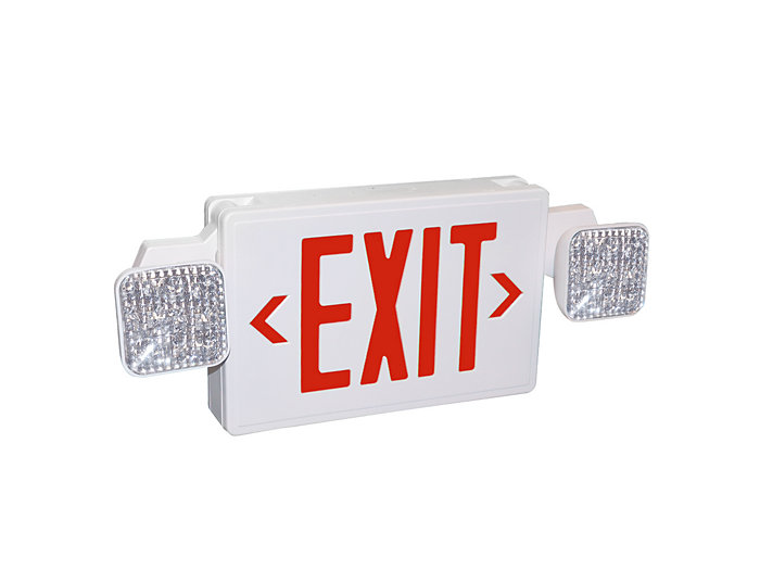 2 - 1W LED Combo, red letters, 2 - 1W or 1 - 2W heads LED remote capable, white