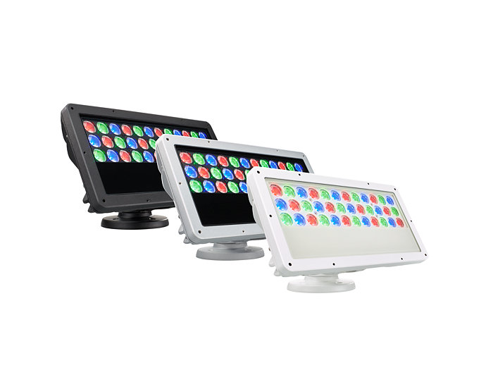 ColorBlast RGB Powercore gen4 LED fixture available in three different housing colors