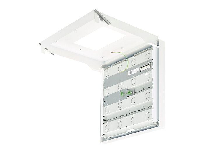 Luminaire in mounting position on ceiling; suspension sets available for square and rectangular luminaires