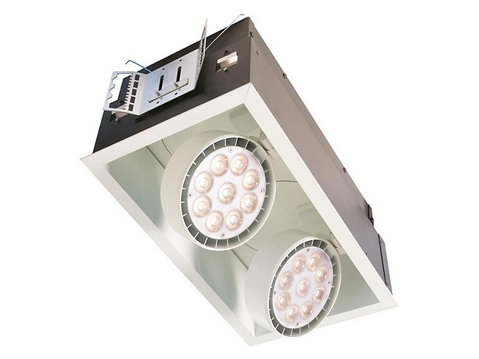 Spot LED 15.5W, Recessed Lighting, Frame-in kit with 3000K Fixture, Spot Reflector, Matte White, 2 head