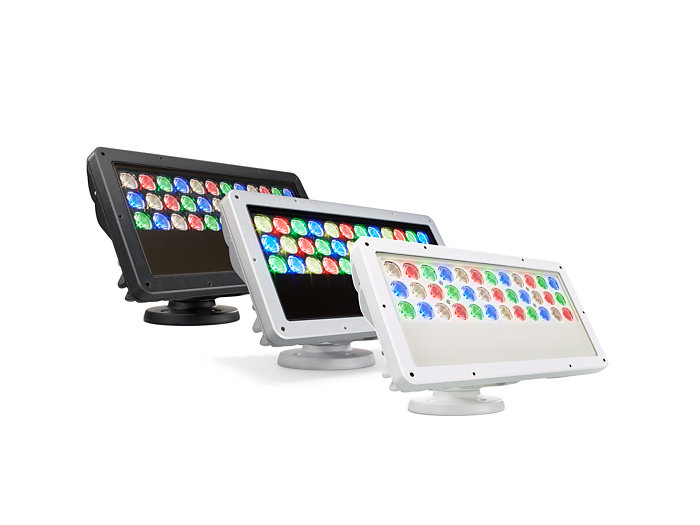 ColorBlast RGBW Powercore gen4 four channel LED fixture available in three different housing colors