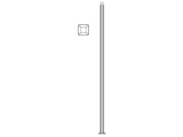 Pole (P9500), Round Straight Fluted Pole