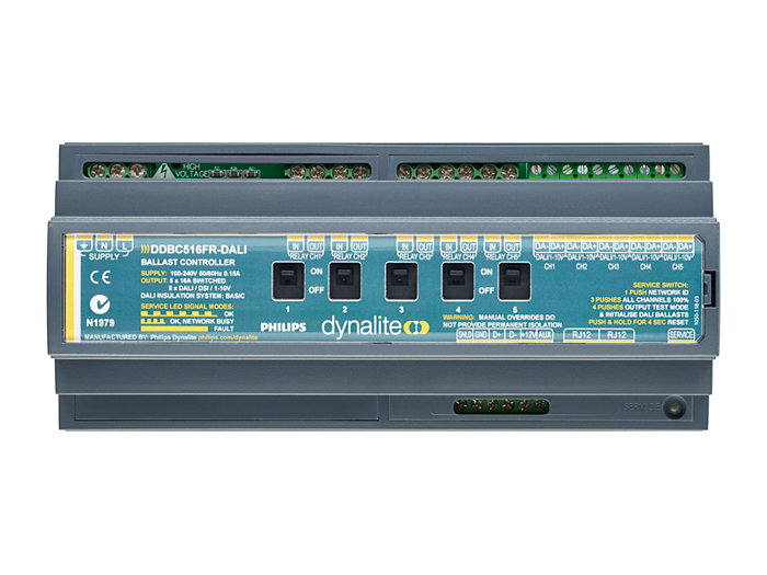 Front of the DDBC516FR 5 x 16A Signal Dimmer Controller