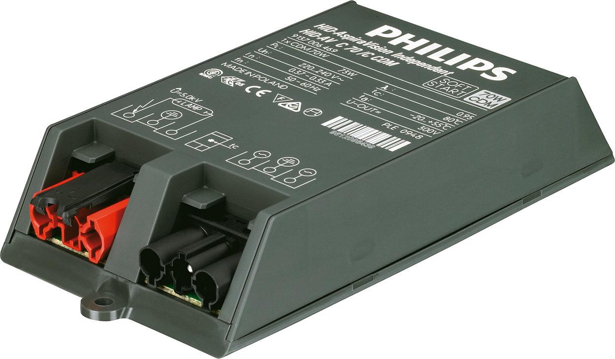 AspiraVision Compact (35, 50 og 70 W) for CDM – smarte elektroniske forkoblinger