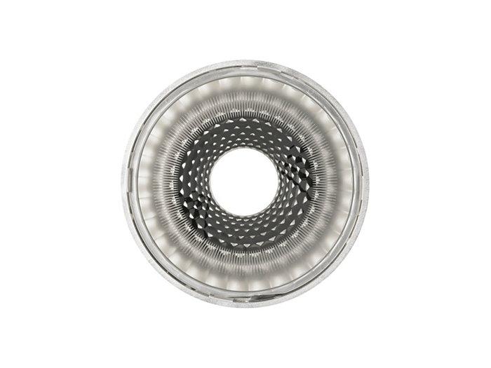 Erityinen akryylilinssi, jonka reunan kuvio tasoittaa valokeilan reuna-alueet