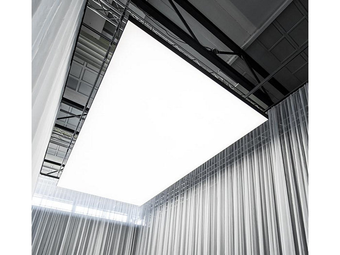 Architectural, made-to-measure ceiling panel combining white LED light with textile