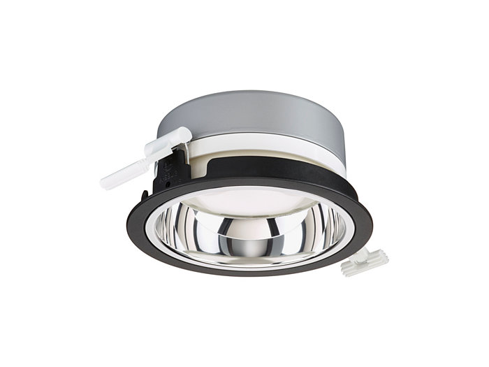 LuxSpace Mini recessed DN560B downlight with high-gloss optic, black version