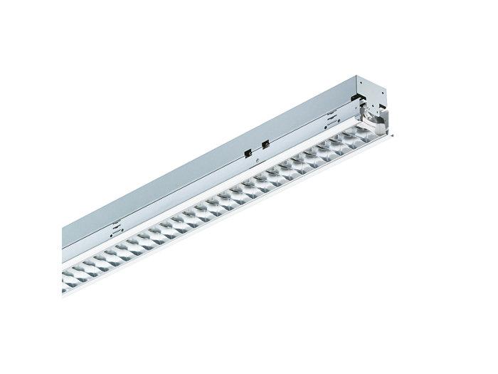 SmartForm Lichtband-Einbauleuchte TBS417 mit bildschirmtauglicher, seidenglänzender OLC-Microlamellenoptik aus silberbeschichtetem, hocheffizientem Aluminium (D8-VH) oder hochwertigem Aluminium (D8), 1-lampig