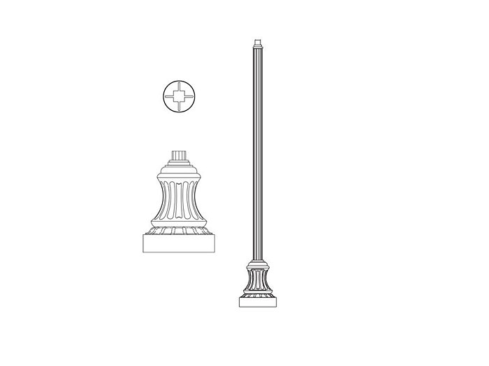 Pole (P2165), Round Straight Fluted Pole