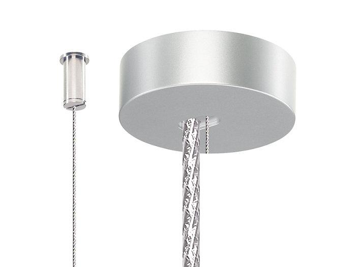 Zestaw dwóch zawiesi z drutu stalowego z mocowaniem do sufitu (SM2). Jedna zaślepka sufitowa dla metalicznego przewodu zasilającego