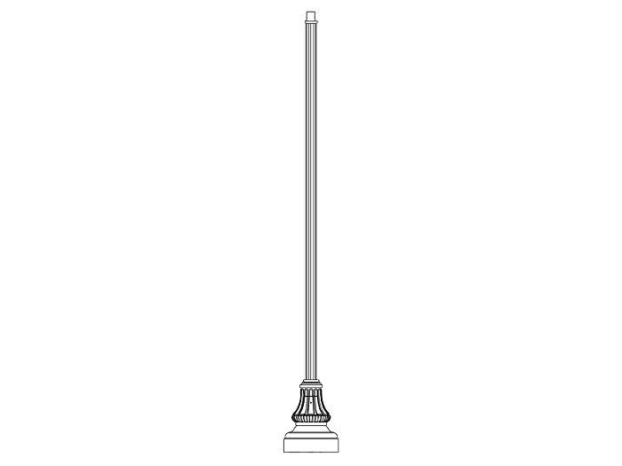 Pole (P5165), Round Straight Fluted Pole