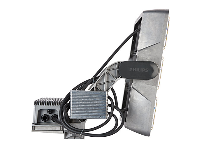 Left side view of BVP525 floodlight (HGB: version with driver box attached)