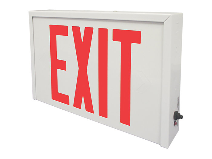 Die Formed Steel LED Exit, AC Only, Universal Face, Green Letters, Custom Colors Available