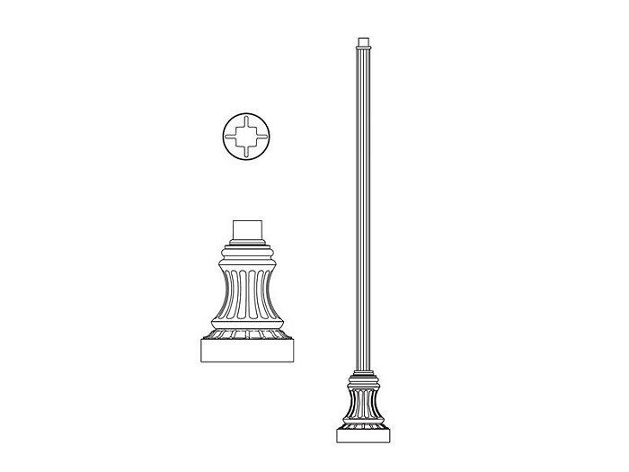 Pole (P2063), Round Straight Fluted Pole