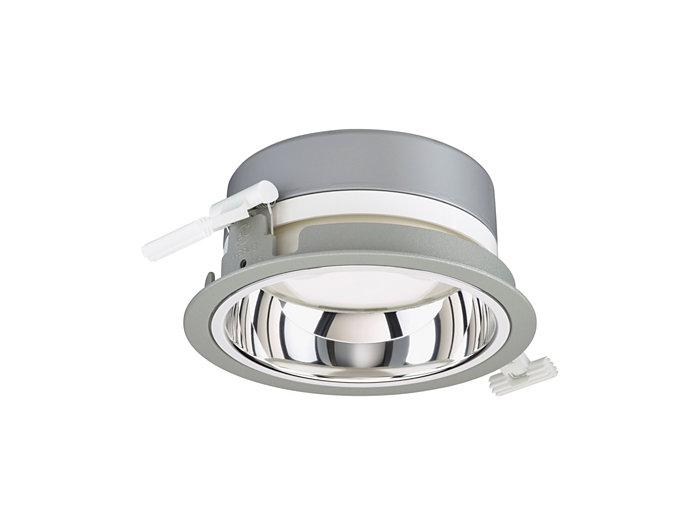 LuxSpace Mini recessed DN560B downlight med högglanspolerad optik, grått utförande