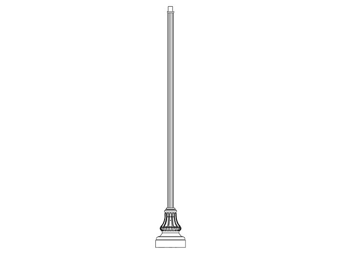 Pole (P5164), Round Straight Fluted Pole