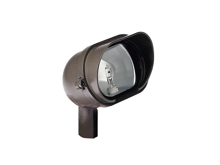 Floodlight, Aluminum w/ Shroud & Stake, w/ Lamp, Bronze, 20W T3, 12V
