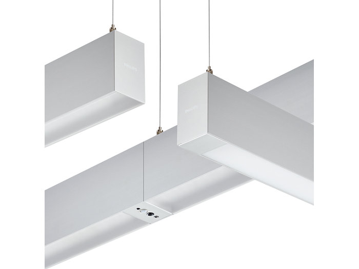 Suspended stand-alone luminaire, office-compliant; suspended light-line, office-compliant, with ACL sensor; suspended stand-alone luminaire, non-office-compliant, with blind plate.