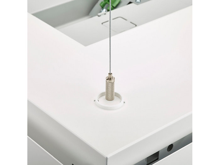 Suspension set for square shape has four wires that are connected to the four corners of the luminaire