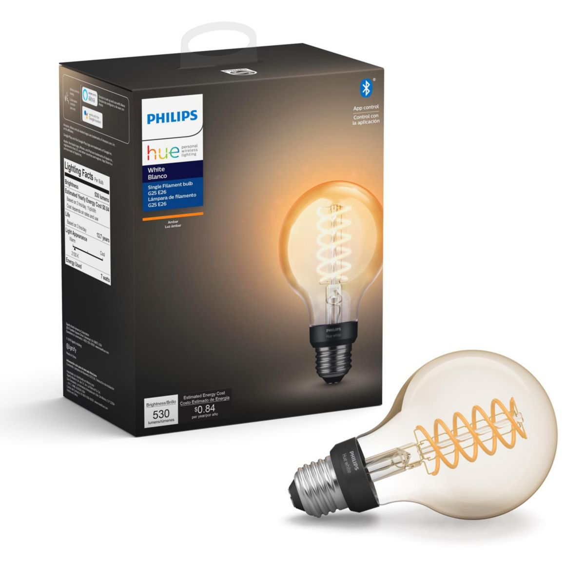 Hue White 1 Pack G25 E26 Filament Globe 046677551797 Philips