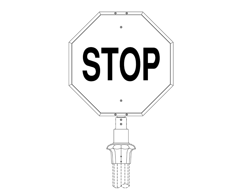 Stop Sign Frame with Post Fitter (232-4FL)