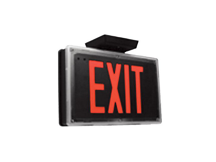 Wet Location/Vandal Resistant LED Exit, AC Only, Single Face, Red Letters, Black Housing and Brushed Aluminum Stencill, Emergency Ni-Cad Battery, Self Diagnostics