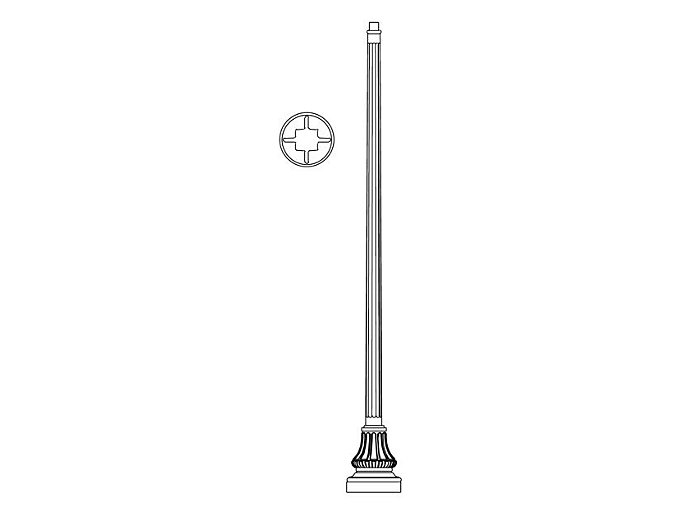 Pole (P5092), Round Tapered Fluted Pole