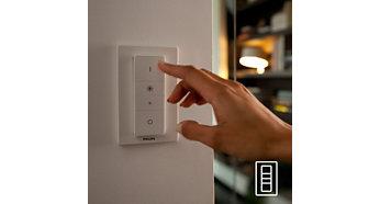 Könnyű és vezeték nélküli szabályozás a fényerő-szabályozó kapcsolóval (mellékelve)