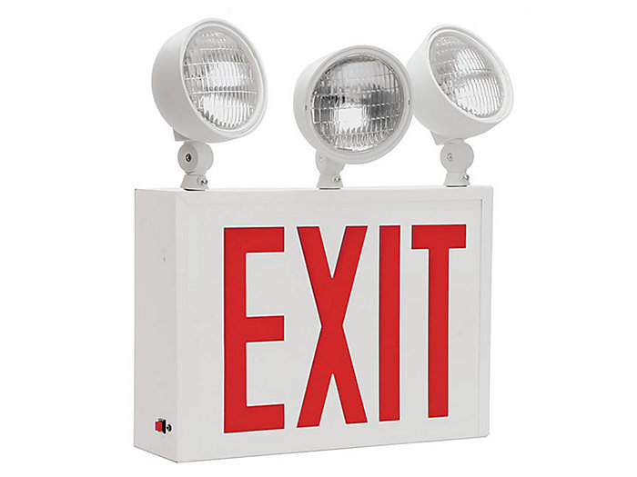 NYC Approved, Die Formed Steel LED Combo,  LED, Universal , 8 inch letters, Red, (3)12W Tungsten Lamps
