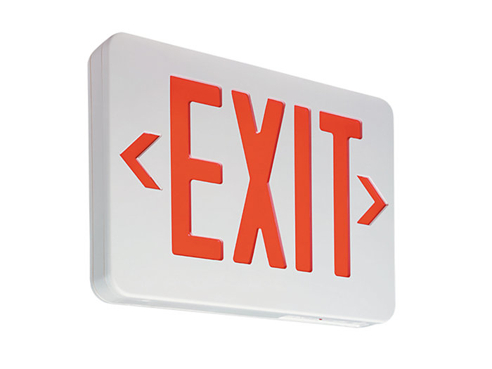 Value+ Economy Grade Thermoplastic Exit, Green Letters, Emergency Lead Calcium Battery, 22W Remote, White Housing