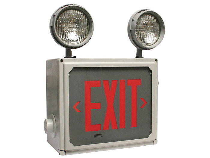 Class I & II, Division 2 Exit Emergency Combo Unit, Red or Green Letters, 6V 72W, Self Diagnostics