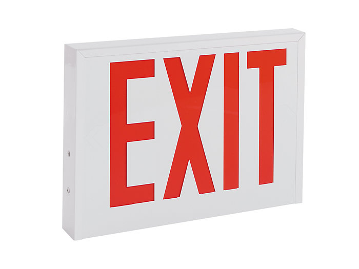 NYC Approved, Die Formed Steel LED Exit, Emergency, 8 inch letters, Red, Universal