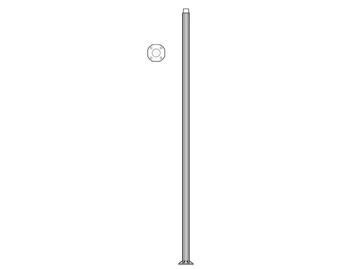 Pole (P9300), Round Straight Fluted Pole