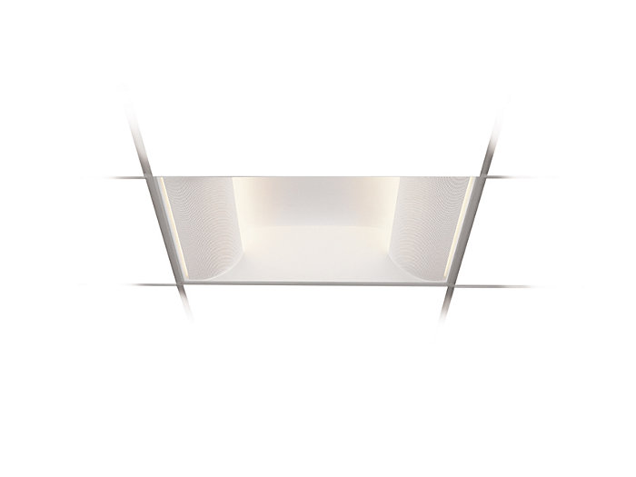2x2, 4 Lamp F24T5HO, Perforated Metal Side Basket Shields w/White Overlay