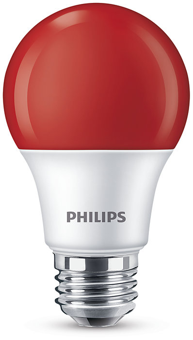 Colored LED bulb with bright red light