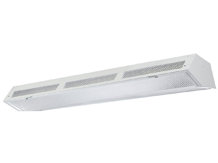 Aesthetic lensed fluorescent High-Bay with up-light available with 4 lamps T5 or T8.
