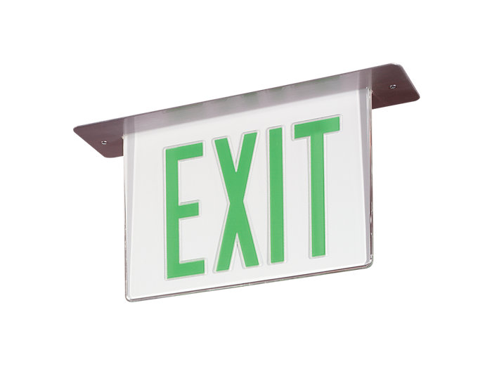 Architectural Emergency LED Edge-Lit Exit with Xtest, Pendant Mount, Single Face, Red or Green Letters, Clear, White or Mirrored Backgrounds available, White Finish, Custom finish options available. See spec sheet.