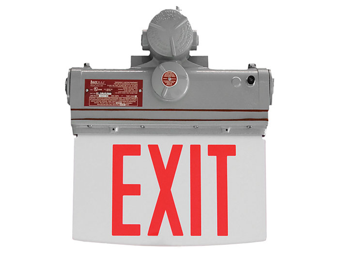 Hazardous Location Edge Lit Exit, Self-Powered, Double Face, Green Letters, End Mount, LED