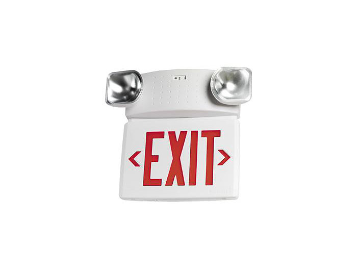 Compac Spec Grade Thermoplastic Exit/Emergency LED Combo, 12 Watt Remote, Universal Face, Green Letters, Black Housing, Xtest