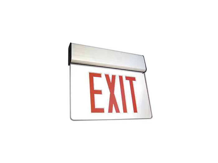 Chicago Approved, Recessed Mount Exit Sign, Emergency LED, White Housing, Double Face, Red Letters