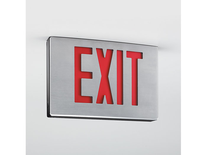 Die Cast Aluminum Contemporary LED Exit, Emergency LED, Single Face (w/Extra Face Plate for Double Face), White Housing, Red Letters, Self Diagnostics