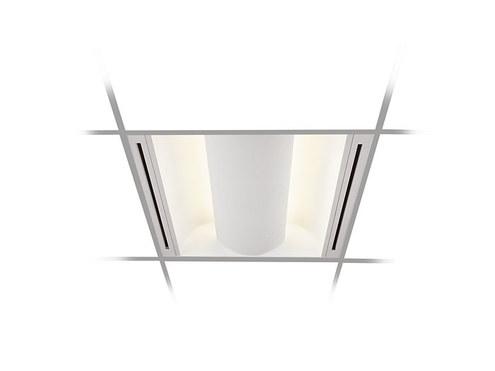 2x4, 4 Lamp CF55, Air Handling w/Perforated Metal Shield & White Overlay