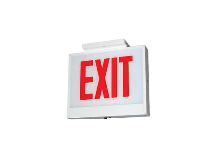 Chicago Approved, Steel LED Exit Sign, Emergency, White Housing, Double Face, Red Letters