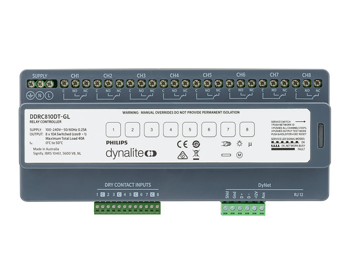 Front of the DDRC810DT-GL 8 x 10A Relay Controller