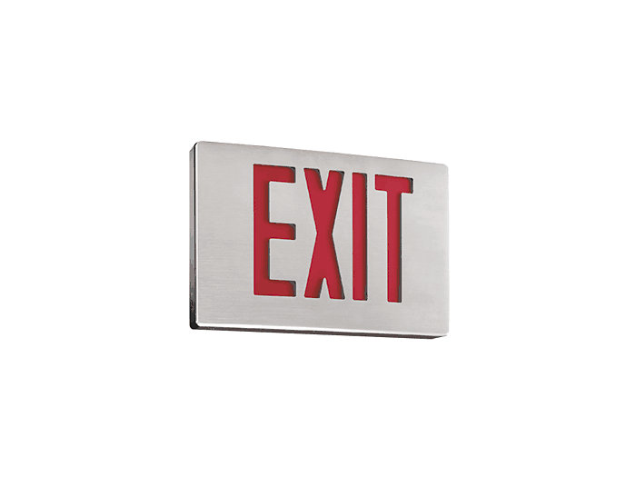 Slender Die Cast Aluminum LED Exit, Emergency, Double Face, Green Letters, Black Housing