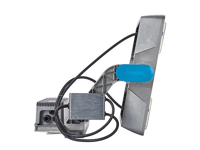 Left side view of BVP415 floodlight (HGB: version with driver box attached)
