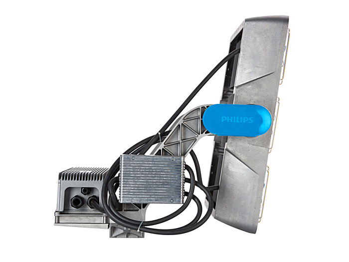 Left side view of BVP425 floodlight (HGB: version with driver box attached)