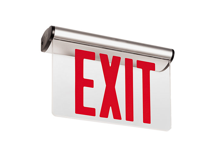 Universal Edge-Lit LED Exit, Emergency LED, White Housing w/ White End Caps, Double Face, Green Letters with Mirror Background, Self-Diagnostics, Universal Mounting